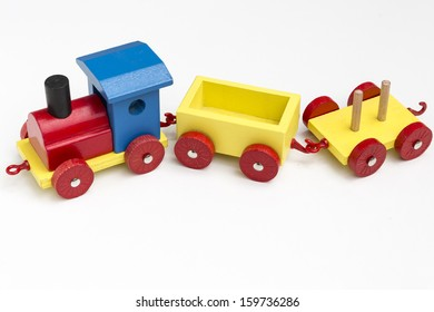 A wooden toy train for children.