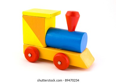 Wooden toy train isolated on white