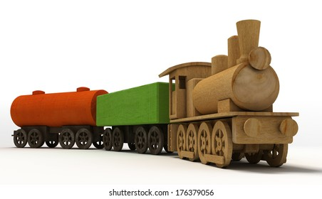 Wooden toy train of a locomotive and two wagons.
