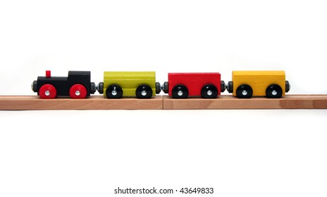 Wooden Toy Train Set on White Background