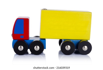wooden toy truck  isolated over white