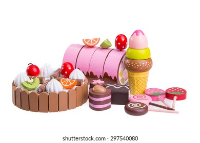 Wooden toys in the form of food