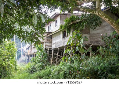 Wooden traditional house on the coast of the river kalimantan