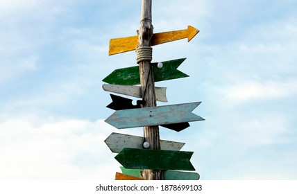 Wooden traditonal direction sign, Crossroad signpost