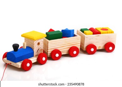 Wooden train. Toys for kids. Safety for children above 4 years old.