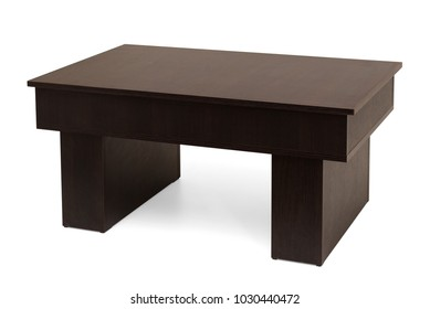 A wooden transformable table. Initial state. Isolated on white background