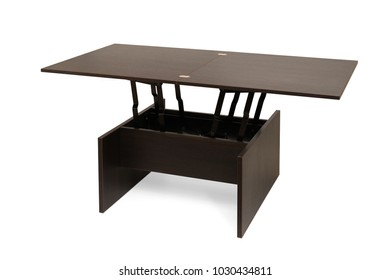 A wooden transformable table. Isolated on white background. Final unfolded state