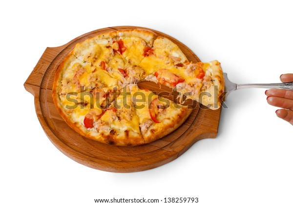wooden tray appetizing pizza cheese isolated on white background