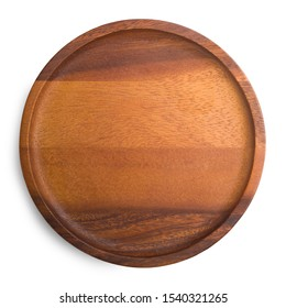 Wooden tray with beautiful patterns isolated on white background with clipping path. Top view.