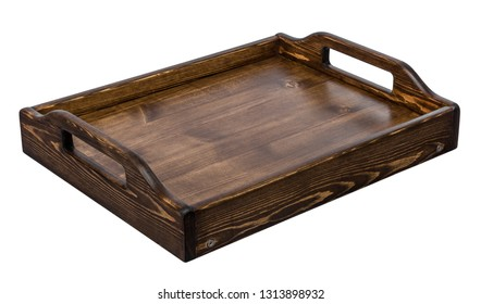 Wooden tray for coffee and breakfast in vintage style handmade