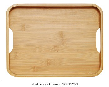 Wooden tray isolated on white background,top view. Saving clipping paths.