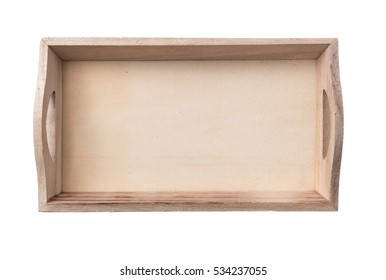 Wooden tray on white background,top view