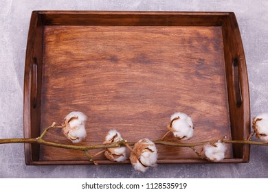 A wooden tray with pussy-willow