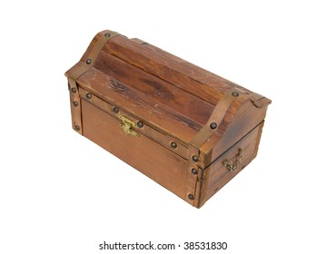 Wooden treasure chest with metal straps and hardware - path included