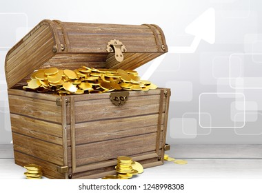 Wooden treasure with gold chest
