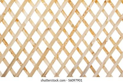 wooden trellis isolated on white background