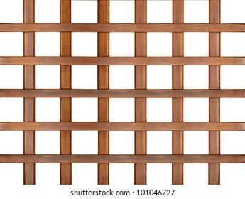 wooden  trellis,  lattice isolated on white background