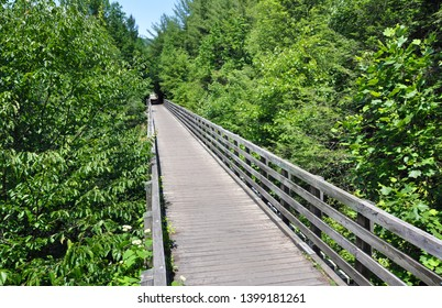 Wooden tressel bridge on the Virginia Creeper Trail in the state of Virginia, United States