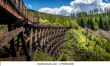 Wooden Trestle Bridges of the abandoned Kettle Valley Railway in Myra Canyon near Kelowna, British Columbia, Canada