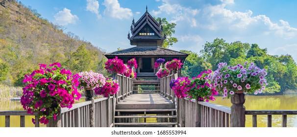 The wooden Tripitaka Library (Ho Trai)  Nakhon Ratchasima Thailand