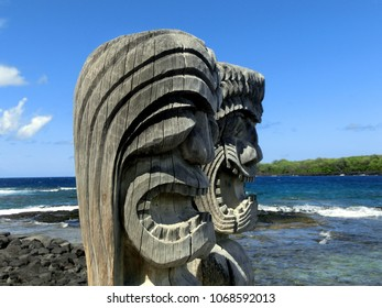 Wooden tropical tiki face carving