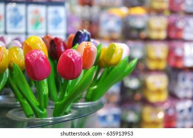 Wooden tulips in souvenir shop