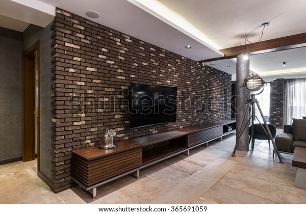 Wooden Tv Stand Modern Living Room Stock Photo Edit Now