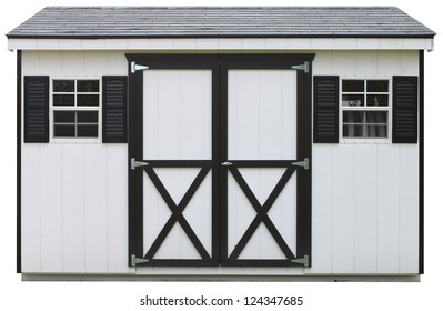 A wooden two window dual door storage shed isolated on white