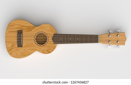 Wooden ukulele - isolated white background - Image