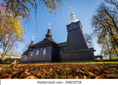 Wooden Unesco Orthodox church in Brunary, Beskid Niski, Poland