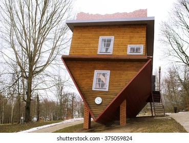 wooden upside-down house in Belarus