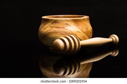 Wooden utensils on a dark background