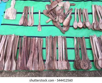 Wooden Utensils selling in a local market