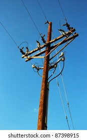 Wooden Utility Pole with Power Lines