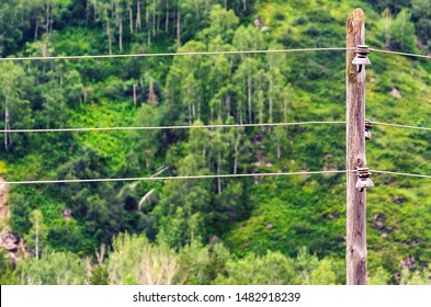 Wooden Utility Power Pole with Insulators and Cables in Highland Area on a Wooded Mountain Slope Background.