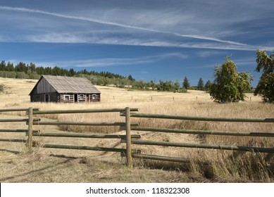 Wooden village cottagein the fields (Cariboo Country)