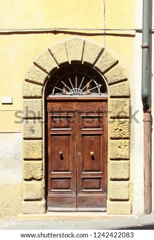 Wooden Vintage Arched Entry Door Decorated Stock Photo Edit Now