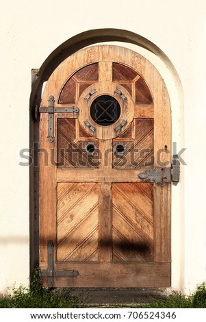Wooden Vintage Arched Entry Door Round Stock Photo Edit Now