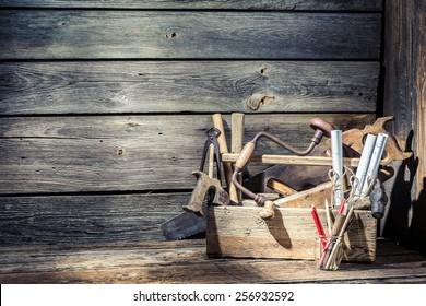 Wooden vintage carpenter drawing desk