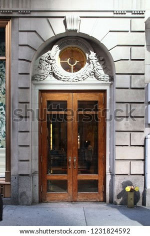 Wooden Vintage Double Arched Entry Door Stock Photo Edit Now