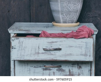 Wooden vintage Dresser, selective focus and toned image
