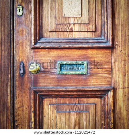 Wooden Vintage Front Door Letter Box Stock Photo Edit Now