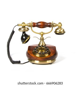 Wooden vintage telephone isolated on white background