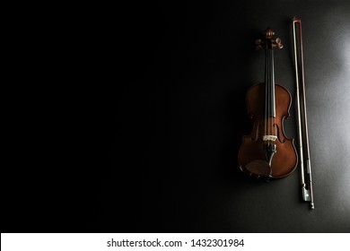 Wooden violin - violin instrument with violin bow