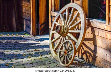 Wooden wagon wheels view