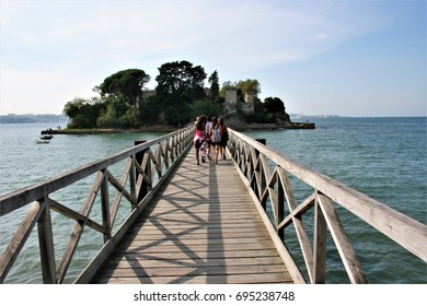 Wooden walkway above the sea in the town of Oleiros in Acoruña, peace, calm, serenity, harmony, fullness, well-being, nature, natural, contemplate, meditate, breathe, grow, happiness, tranquility,
