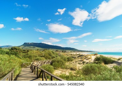 Wooden walkway in Bolonia beach, Tarifa, Andalusia, Spain.
