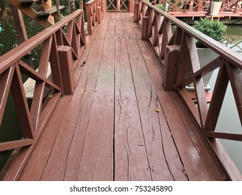 Wooden walkway to cross the lake