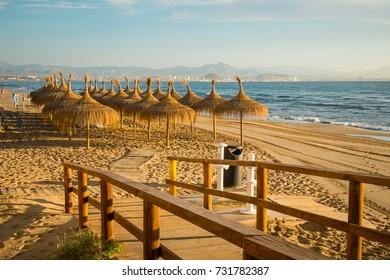Wooden walkway down to sandy Santa Pola beach, Costa Blanca, Spain