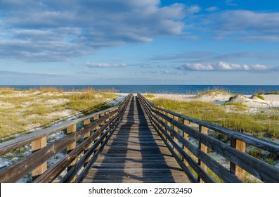 A wooden walkway to the Gulf of Mexico on the Alabama Gulf Coast.